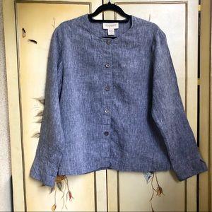 100% Linen Lagenlook Buttoned Shirt Top 2